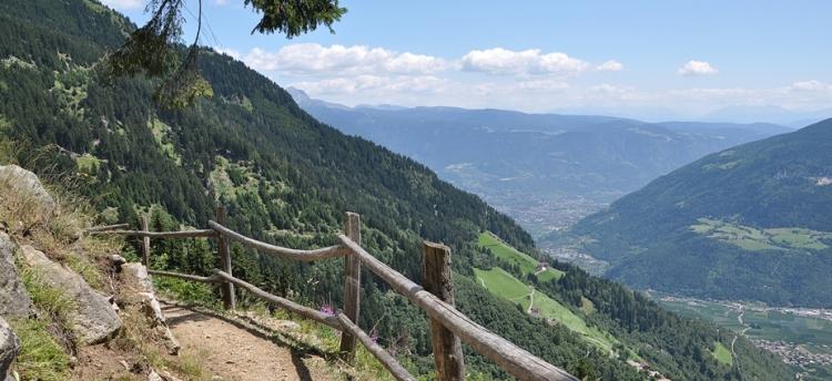 Meraner Höhenweg kurz nach Nassereith, der Blick geht talauswärts. Foto: Dietrich Höllhuber